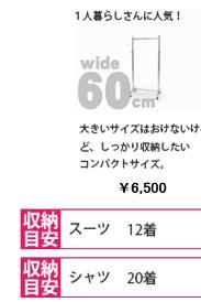 1人暮らしさんに人気!大きいサイズはおけないけど、しっかり収納したいコンパクトサイズ。6800円。スーツ12着、シャツ20着収納。
