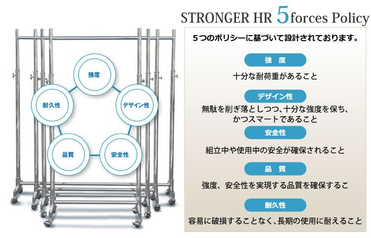 業務用ハンガーラックストロンガーは、強度、デザイン性、安全性、本質、耐久性をポリシーとして製造しています。