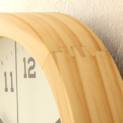 画像1: 【無垢材】シンプルな壁掛けウッドクロック Φ290mm