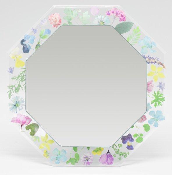 画像1: 女性らしい押し花風六角花柄ミラー 置き掛け両用 角度調節可 (1)